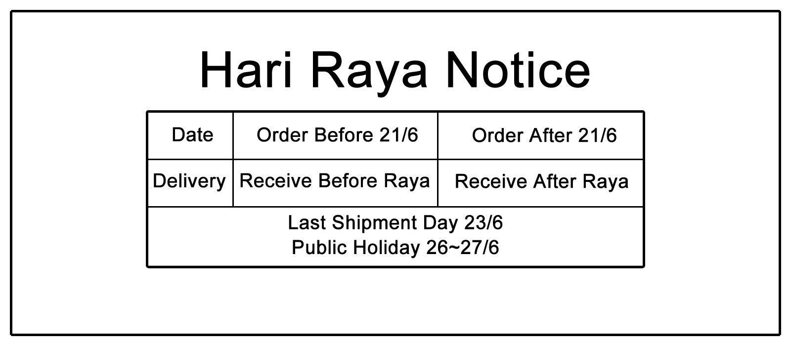 Hari Raya Notice