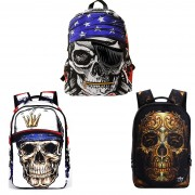 Skull Collection Creepy Cool Skeleton College Student High School Backpack [MC106, MC088, MC156]  (Free Gift)