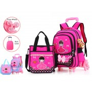 MC111 - Cute Carton Girl Trolley Backpack / 6 Wheels Trolley Backpack MC111 - H3 (Free Gift)
