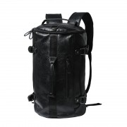 Man Charcoal Black Leather Duffel Bag / Cool Man's Weekender Backpack MC125