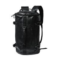 Man Charcoal Black Leather Duffel Bag / Cool Man's Weekender Backpack MC125