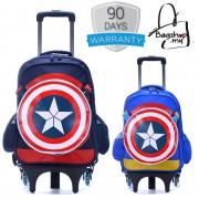 Captain America 6 Wheels Trolley Backpack MC128 (Free Gift)