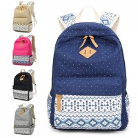 Girl Polka Dots Vintage High School Daily Casual Backpack mc134 F3(Special Promotion)