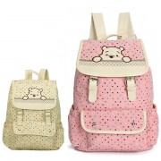 MC175 - Winnie The Pooh Cute Backpack / Polka Cute Canvas Bag (Free Gift)
