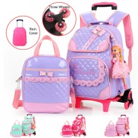 MC211 - Girl Trolley Backpack /  Cute Shinny Leather 6 Wheels Trolley School Bag