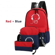 MC214 - Trending Cool Music Cartoon Backpack / 3 in 1 Cute Glowing in The Dark Color Mix Bag  YC2
