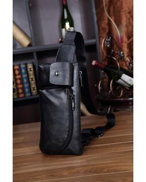 MC221 - Man's Classic Quality Leather Waist/Chest Pouch Bag / Long Shape Rectangular Convenient Bag