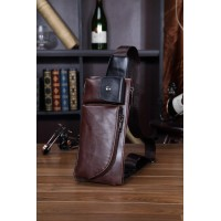 MC221 - Man's Classic Quality Leather Waist/Chest Pouch Bag / Long Shape Rectangular Convenient Bag