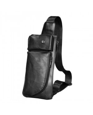 MC221 - Man's Classic Quality Leather Waist/Chest Pouch Bag / Long Shape Rectangular Convenient Bag (Free Gift)