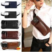 Man's Classic Quality Leather Waist/Chest Pouch Bag / Long Shape Rectangular Convenient Bag MC221 YY