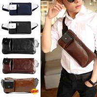 Man's Classic Quality Leather Waist/Chest Pouch Bag / Long Shape Rectangular Convenient Bag MC221 LC4