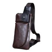 Man's Classic Quality Leather Waist/Chest Pouch Bag / Long Shape Rectangular Convenient Bag MC221 A7