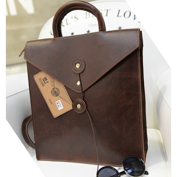 MC242 - Formal Rectangular Hard Classic Brown Leather Backpack / Cool Business Bag (Promo)