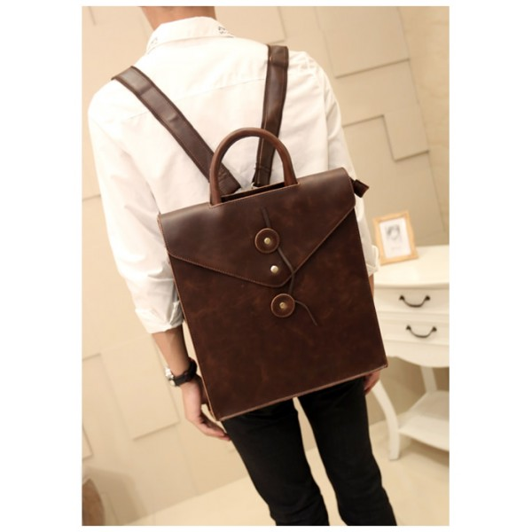Formal Rectangular Hard Classic Brown Leather Backpack / Cool ...