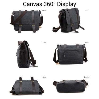 MC235 RE2 Man Stylish Formal Long Strap Leather Canvas Messenger Bag Sling Beg MSB
