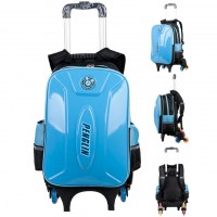 MC244- New Design Hard Cover Kids 6 Wheels Trolley Backpack / School Student 3 Wheels Stair Climbing Bag H2