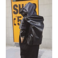MC237 - Cool Korean Style Raven Backpack / Charcoal Black Fashion Hoodie Bag A6
