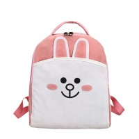 MC247 - Cute Rabbit & Bear (Cony & Brown) Soft Fabric Backpack / Casual Convenient Shopping H3