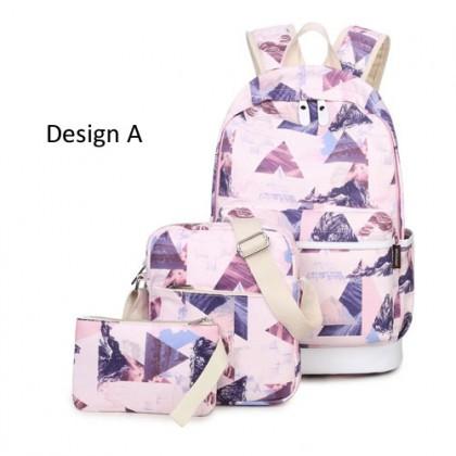 MC253 - Cool Trend Silky HD Printing Modern 3 in 1 Backpack / Cool Girl's Bag