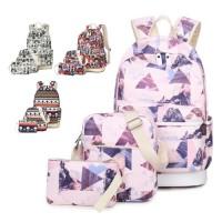 MC253 - Cool Trend Silky HD Printing Modern 3 in 1 Backpack / Cool Girl's Bag RG6