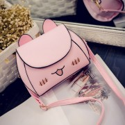 MC281 - Cute Cat Design Leather Sling Bag / Smooth Texture Lady Casual Sling Purse AK2