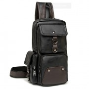 MC282 - New Era Design Coolest Man's Chest Pouch / Long Shape Quality Leather Man's Sling Bag H4