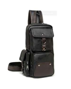 MC282 - New Era Design Coolest Man's Chest Pouch / Long Shape Quality Leather Man's Sling Bag -G4
