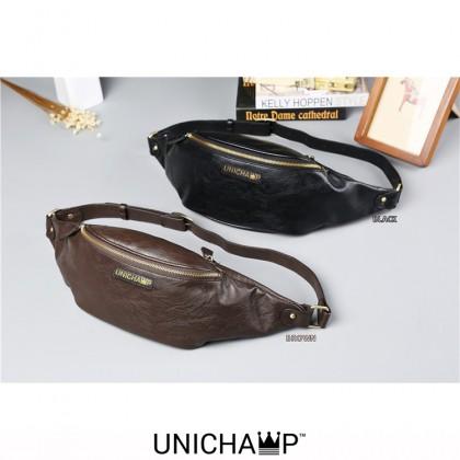 [Unichamp] MC283 Quality Leather Thin Version Chest Pouch / Man's Double Zipper Cool Design Waist Pouch