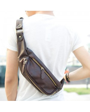 MC283 - Quality Leather Thin Version Chest Pouch / Man's Double Zipper Cool Design Waist Pouch (Free Gift) F4