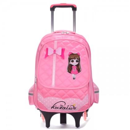 MC291 Cartoon Girl 6 Wheels Trolley Backpack
