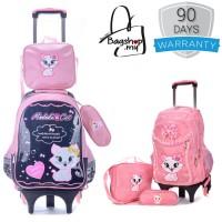 Pinky Cat 6 Wheels Trolley Backpack MC289 YS1