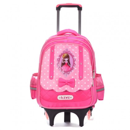 MC293 Cute Barbie 6 Wheels Trolley Backpack