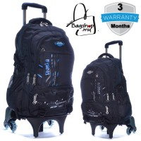 MC306 - Super Large Capacity Primary School Student Trolley Backpack / Classic Plain Black 6 Wheels Trolley Bag -G3