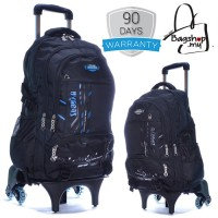6 Wheels Large Black Trolley Backpack MC306 - RA2