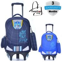 mc309 - Cartoon Transformer Primary School Kids Trolley Backpack / 6 Wheels Strudent Trolley Bag -G3