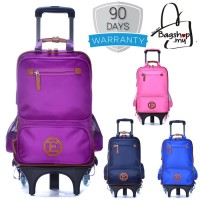 mc310 - Plain Color Design High Quality Primary School Trolley Backpacks / 6 Wheels Student Bag -G3