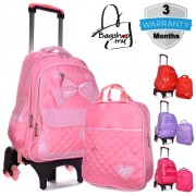 MC305 - Big Shinny Ribbon Cute Girl Primary School 6 Wheels Trolley Backpack