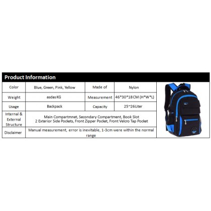 MC316 Quality Durable Plain Black Design Primary School Bag / Classic Student Backpack