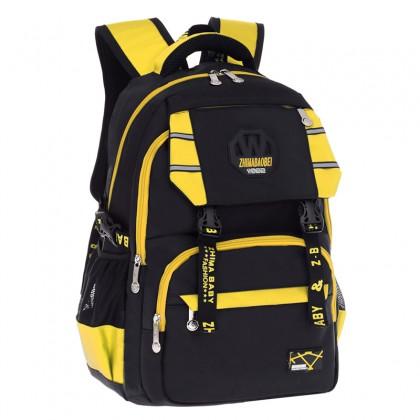 MC317 Cool Classic Plain Black Design Primary School Bag / Comfortable Large Student Backpack