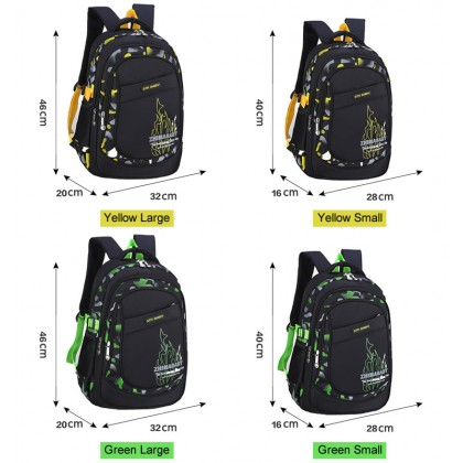 MC319 Cushion Padded Quality Plain Black Design Primary School Bag / Comfortable Student Backpack