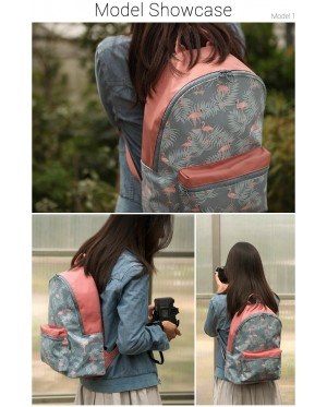 mc321 - Pinky Blue Flamingo Fashion Design Casual Backpack / Cool College Student Bag CK1