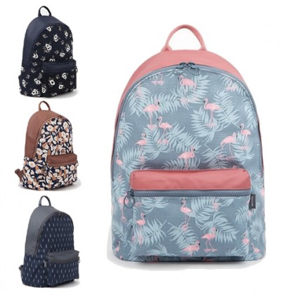 Pinky Blue Flamingo Fashion Design Casual Backpack / Cool College Student Bag MC321 LA4