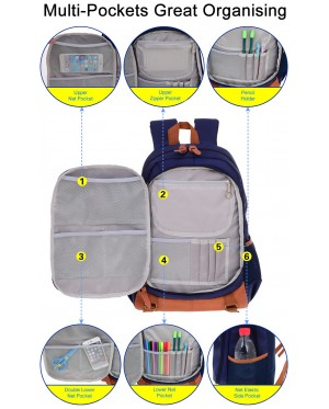 mc318 - British Style Cushion Padded Spine Protective Mutli-Pockets Primary School Student Backpack