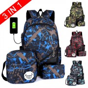 3 in 1 Unisex Cool Grable Design Nylon Daily Backpack mc356 M3