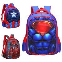 3D Muscles Superhero Suit Primary School Kids Favorite Backpack mc359 H1 (Free Gift)