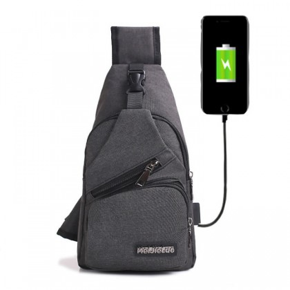 MC357 USB Port Urban Stylish Chest Pouch Sling Bag