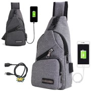 USB Port Urban Stylish Chest Pouch Sling Bag mc357 YA1