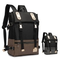 Man Cool Stylish Buckle Durable Black Nylon Backpack mc355 H1 (Free Gift)