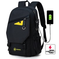 2419a48e46ec Man Charcoal Black One Eye Monster USB Charging Port Backpack mc368 RE7