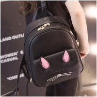 Girl Black Leather 3D Pink Ear Cute Cat Backpack MC369 PK2
